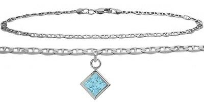 10K WG 9 Inch Mariner Anklet with Genuine Blue Topaz Square Charm
