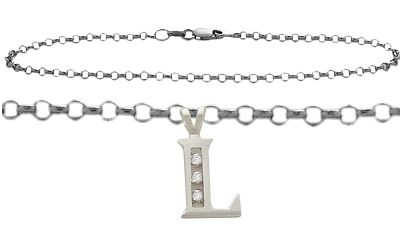 "Diamond Initial L WG 9"" Charm Anklet"