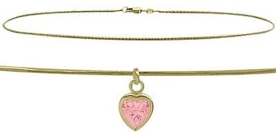 """10 K YG 9"""" Snake Style Created 1.00 tcw. Pink Stone Heart Charm Anklet"""