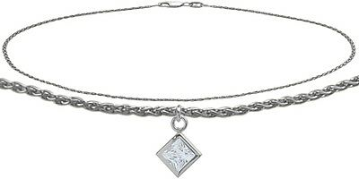 14K WG 9 Inch Wheat Anklet with Genuine White Topaz Square Charm