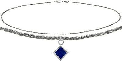 14K WG 10 Inch Wheat Anklet with Created Sapphire Square Charm