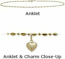 "10K YG 10"" Bead Style Anklet with 9mm Heart Charm"