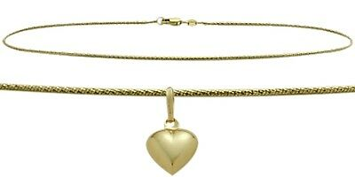 "14K YG 10"" Solid Rope Style Anklet with 9mm Heart Charm"