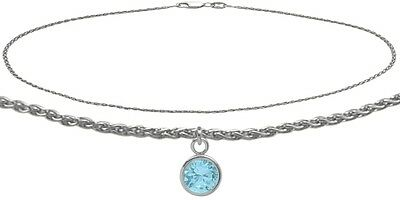 10K WG 10 Inch Wheat Anklet with Created Aquamarine Round Charm