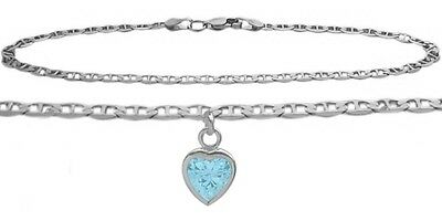 14K WG 9 Inch Mariner Anklet with Created Aquamarine Heart Charm