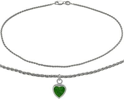 14K WG 9 Inch Wheat Anklet with Created Emerald Heart Charm