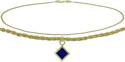 10K YG 10 Inch Wheat Anklet with Created Sapphire Square Charm