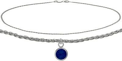 14K WG 10 Inch Wheat Anklet with Created Sapphire Round Charm