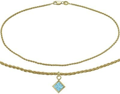 10K YG 9 Inch Wheat Anklet with Genuine Blue Topaz Square Charm