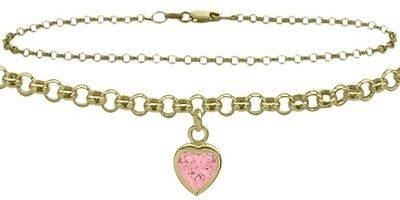 """14 K 10"""" YG Belcher Style  Created 1.00 tcw. Pink Stone Heart Charm Anklet"""