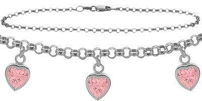 """14 K WG 9"""" Belcher Style Created 3.00 tcw. 3 Stone Pink Stone Heart Charm Anklet"""