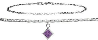 10K WG 10 Inch Mariner Anklet with Genuine Amethyst Square Charm