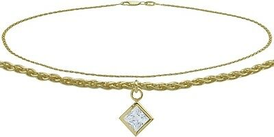 10K YG 9 Inch Wheat Anklet with Genuine White Topaz Square Charm