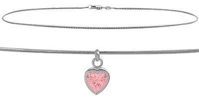 """10 K WG 9"""" Snake Style Created 1.00 tcw. Pink Stone Heart Charm Anklet"""