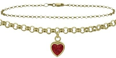 """10 K 10"""" YG Belcher Style  Created 0.90 tcw. Ruby Stone Heart Charm Anklet"""
