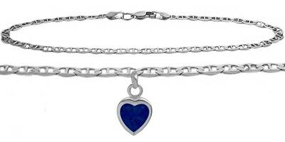 10K WG 10 Inch Mariner Anklet with Created Sapphire Heart Charm