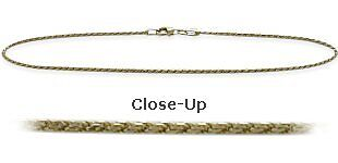 10K YG 10 Inch Solid Rope Style Anklet
