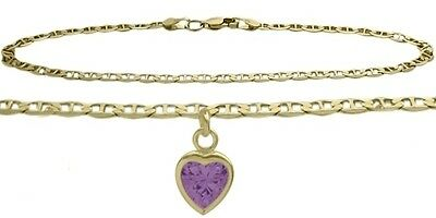 10K YG 10 Inch Mariner Anklet with Genuine Amethyst Heart Charm