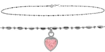 """10 K WG 9"""" Bead Style  Created 1.00 tcw. Pink Stone Heart Charm Anklet"""