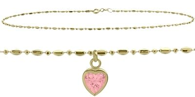 """10 K YG 9"""" Bead Style Created 1.00 tcw. Pink Stone Heart Charm Anklet"""