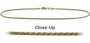 10K YG 9 Inch Solid Rope Style Anklet