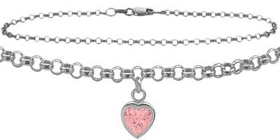 """10 K 9"""" WG Belcher Style  Created 1.00 tcw. Pink Stone Heart Charm Anklet"""