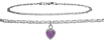 10K WG 10 Inch Mariner Anklet with Genuine Amethyst Heart Charm
