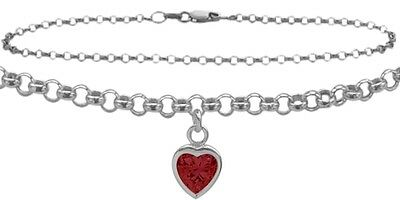 """14 K WG 9"""" Belcher Style Created 0.90tcw. Ruby Stone Heart Charm Anklet"""