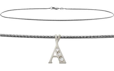 "Initial Diamond A WG 9"" Charm Anklet"