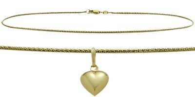 "10K YG 10"" Solid Rope Style Anklet with 9mm Heart Charm"