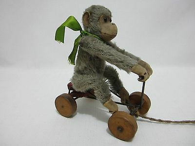 """STEIFF Antique Small Record Peter Monkey FF Button 7"""" Wheels Pull Toy"""