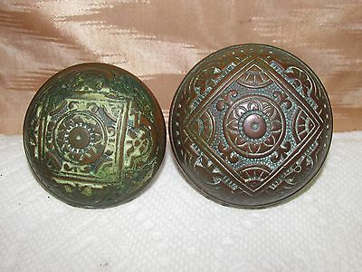 Antique Eastlake Victorian Bronze Fancy Patterned Door Knob Set, Salvage