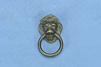 Antique VICTORIAN EASTLAKE LION HEAD BRASS SINGLE POST RING PULL HANDLE LOT 118A