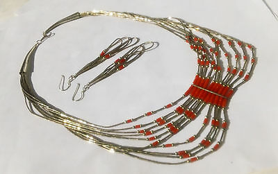 Vtg Native American Navajo Sterling Silver Coral Beads Necklace Earrings Set
