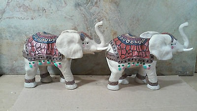 2 Porcelain Regally Decorated Elephant Figurines