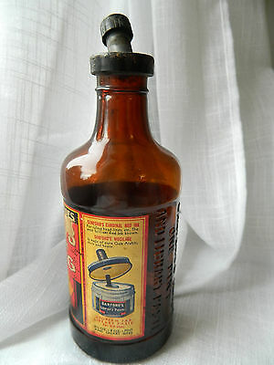 SANFORDS INK bottle with FULL COLORFUL LABEL *1930s Bakelite cap Great piece!