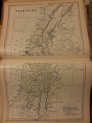 Vtg Antique c1800 BIBLE Religious Engraving Print PALESTINE Holy Land Map
