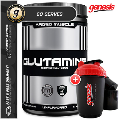 Glutamine Powder by Kaged Muscle *60 SERVES UNFLAVOURED* + Free 3-in-1 Shaker!