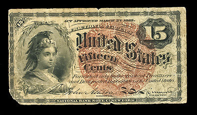 15 Cents Fractional Currency 1863 Civil War Era Female Bust #569