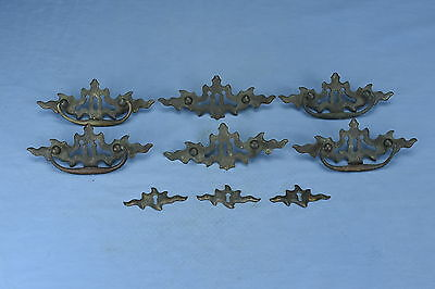 Antique LOT of 9 CAST BRASS EASTLAKE DRAWER HANDLES KEYHOLE COVERS OLD LOT #103A