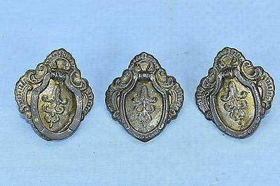 Antique SET of 3 EASTLAKE BRASS WASH SINGLE POST PULL DRAWER HARDWARE LOT #140A