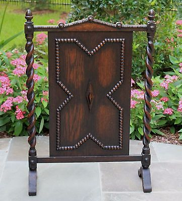 Antique English Dark Oak Jacobean Barley Twist  Hearth Fireplace Screen