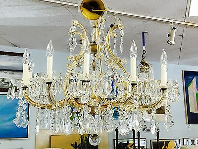 "Italian Maria Theresa Twelve Light Antique Chandelier Made in Italy 36""D"