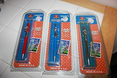looney tunes collector pens lot of 3 pens - taz, tweety, marvin - NEW free ship