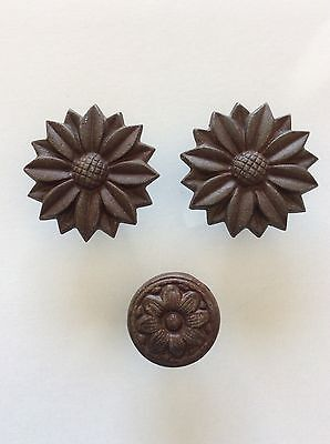 """Lot of 3 Sunflower Knobs Drawer Handles Pulls Cast Iron BIG 2"""" + 3 1/4"""" Country"""