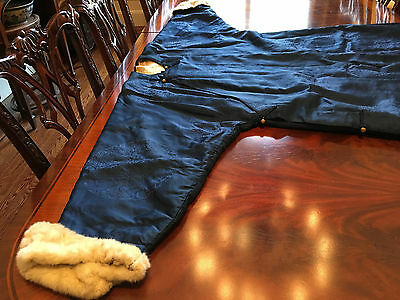 A Rare and Important Chinese Qing Dynasty Blue Silk Fur Winter Dragon Robe.