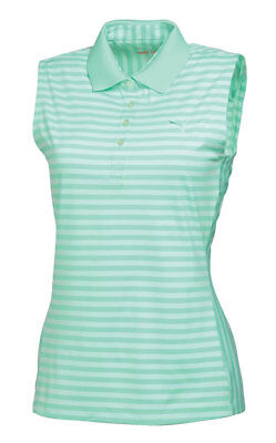 Puma W Stripe Sleeveless Polo Women Golf Dry Cell green