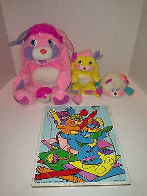 Popples POTATO CHIP & PARTY & PUFFLING 1985 Vintage Plush & Puzzle Free Shipping