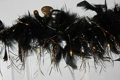 """BLACK FEATHER BOA GOLD/SILVER SPARKLE TINSEL party COSTUME  45"""" free ship"""