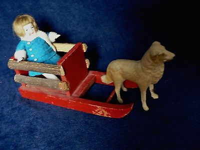 Antique German Christmas Candy Container Hertwig Bisque Doll On Red Wood Sleigh